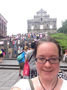 Selfie outside the cathedral in Macau