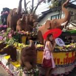 Brown elephant flower float