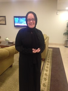 Me in abaya and veil. No, it's not flattering.