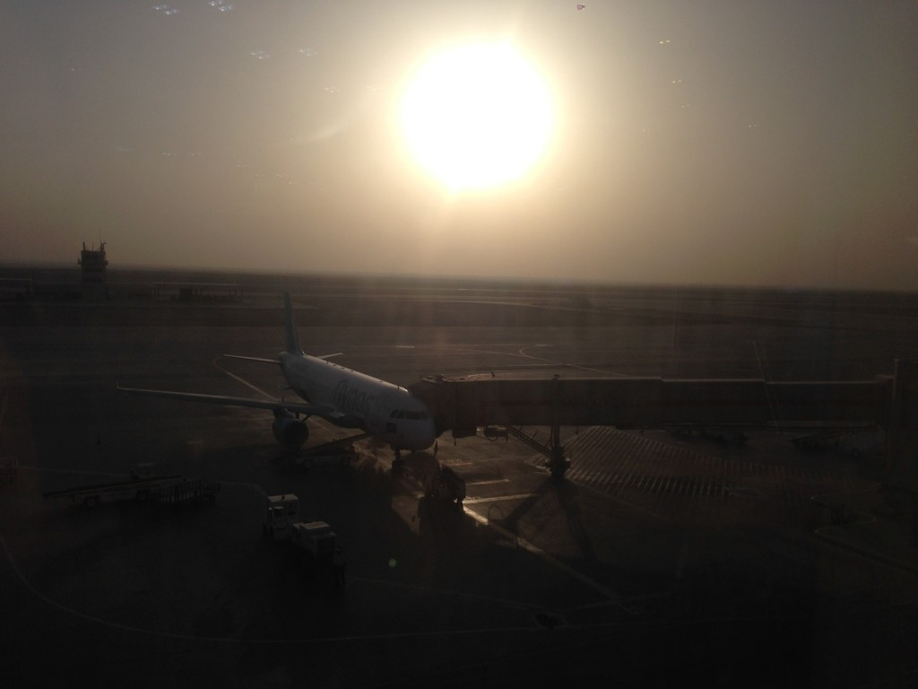 Dammam Airport with the sun setting