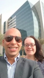 My colleague, Khaled and I in front of the offices
