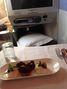 Emirates business class upgrade: dessert and legroom