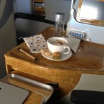 Emirates business class upgrade: coffee and biscuits