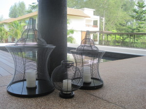 Rattan Bird Cage Lights in the hotel reception