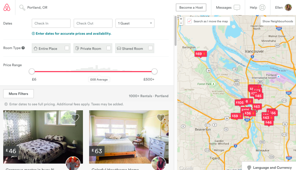 Airbnb search example